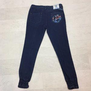 Ecko Jeans Sz 7/8 Elastic Ankles Vtg Red Denim
